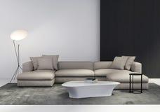 Zeitgenössisches stilvolles Wohnzimmer stockfoto