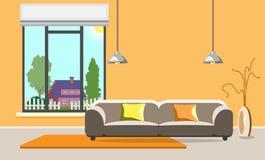 Zeitgenössisches Wohnzimmerdesign Moderner Innenraum Flache Art vektor abbildung
