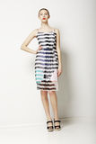 Zeitgenosse kleidet Sammlung. Frauen-im Frühjahr Licht-Kleid mit Grey Streaks. Mode Stockfotos