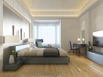 Zeitgenössische Art des modernen Hotelzimmers mit Elementen von Art Deco Stockfotos