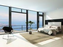 Zeitgenössischer moderner sonniger Schlafzimmerinnenraum mit enormen Fenstern Stockbild