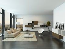 Zeitgenössischer Wohnzimmerdachbodeninnenraum Stockfotografie