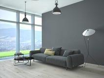Zeitgenössischer Wohnzimmerdachbodeninnenraum Stockfotos