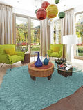 Zeitgenössisches Wohnzimmer mit einer Sitzecke mit zwei Stühlen Stockbilder
