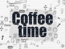 Zeitkonzept: Kaffee-Zeit auf Wandhintergrund Stock Abbildung