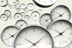 Zeitkonzept mit vielen Uhren, die der Kamera sich nähern vektor abbildung