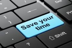 Zeitkonzept: Sparen Sie Ihre Zeit auf Computertastaturhintergrund Stockfoto