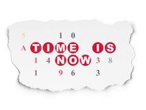 Zeitkonzept: Zeit ist jetzt auf heftigem Papierhintergrund Stockfoto