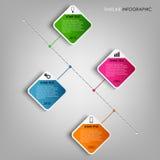 Zeitlinie farbiges quadratisches Gestaltungselement der Informationen Grafik Stockfotos