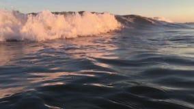 Zeitlupe bewegt bei Sonnenuntergang wellenartig stock footage