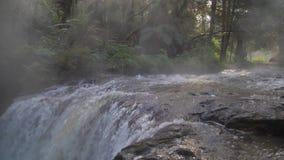 Zeitlupe des Stromes der heißen Quelle in Neuseeland stock video