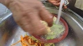 Zeitlupe von den Händen, die Gemüse im Spülbecken waschen stock video