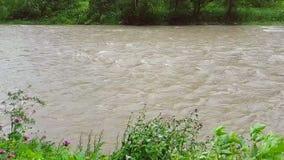 Zeitlupe von einem schnellen Gebirgsfluss 240fps Im regnerischen Wetter ist das Wasser im Fluss Braun und bewegt sich schnell stock footage