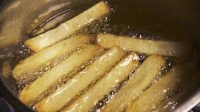 Zeitlupefischrogenkartoffeln im Öl stock video footage