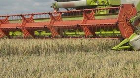 Zeitlupeshow der Landwirtschaft von combaine Erntemaschinenfunktion auf großem Feld, Erntemaschine auf Feld, grüne combaine Fun stock footage