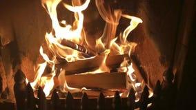 Zeitlupevideo von Flammen in einem inländischen Kamin stock footage