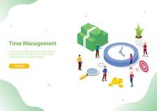 Zeitmanagement-Einsparungskonzept mit den Teamleuten, die zusammen mit moderner isometrischer Art für Websiteschablonenfahne arbe lizenzfreie abbildung