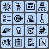 Zeitmanagement-Ikonenschwarzsatz Lizenzfreie Stockbilder
