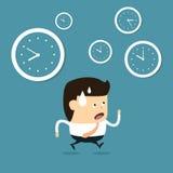 Zeitmanagement mit Karikaturgeschäftsmann Stockbilder