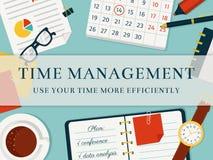 Zeitmanagementfahne Vector Konzept background Stockfotografie