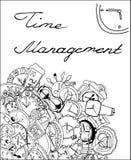 Zeitmanagementillustration, Uhrgekritzel Lizenzfreies Stockfoto