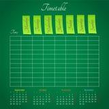 Zeitplan auf der grünen Tafel für irgendeine Planung Stockbild