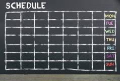 Zeitplan auf Tafel für die Planung stockfotos