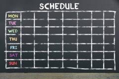Zeitplan an Bord für die Planung lizenzfreies stockfoto