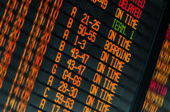 Zeitplan der Flugabfahrt Stockfotografie