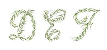 Zeitplan des Alphabetes set Alphabet von grünen Blättern mit Buchstaben d, e, f stockfotos