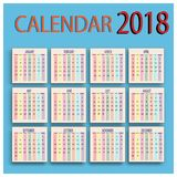 Zeitplan des Kalenders des Alltagsleben-2018 Lizenzfreie Stockbilder