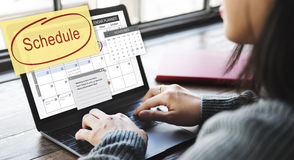 Zeitplan-Kalender-Planer-Organisation erinnern Konzept stockbild
