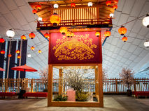 Zeitraum-ähnliche Dekoration Edo an Haneda-Flughafen, Tokyo, Japan Stockbilder