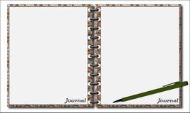 Zeitschrift mit Stift und Muster Lizenzfreies Stockbild