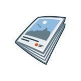 Zeitschriften- oder Broschürenikone in der Karikaturart Stockbild