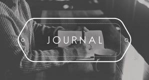 Zeitschriften-Schreibens-Anmerkungs-Informations-Blog-Konzept Lizenzfreie Stockfotografie