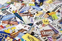 Zeitschriften-Wort-Ausschnitts-Hintergrund Stockfotografie