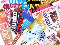 Zeitschriftenausschnitte - unvollständige Wörter Stockfotografie