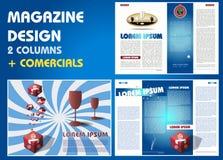 Zeitschriftenplan mit Werbungen Stockfotografie