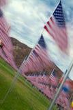 Zeitspanne-amerikanische Flaggen in den Reihen Stockbilder