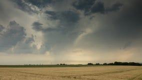 Zeitspanne - bewegliche Wolken über einem Feld im Sommer mit Frankfurt am Main im Abstand stock footage