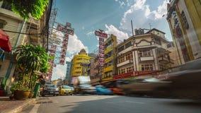 Zeitspanne der Ansicht 4k der Bangkok-StadtStau-Straßenstraße sonniger Tagesthailand stock video
