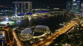 Zeitspanne der Nachtszene bei Marina Bay Singapore stock video