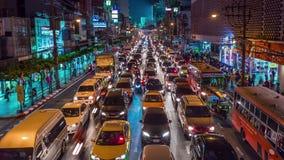Zeitspanne des Bangkok-Nachtim stadtzentrum gelegene Straßenverkehrspanoramas 4k Thailand stock footage