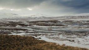 Zeitspanne des breiten Winterpanoramas in Island stock video