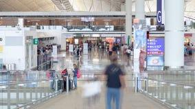 Zeitspanne des internationalen Flughafens China Runde metallische Knöpfe stock footage