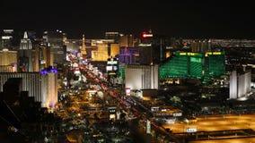 Zeitspanne des Streifens Las Vegas Boulevard nachts Las Vegas Nevada vereinigen stock footage
