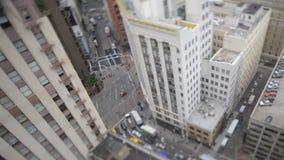 Zeitspanne-Neigungs-Verschiebung des Verkehrs in im Stadtzentrum gelegenem San Francisco stock footage