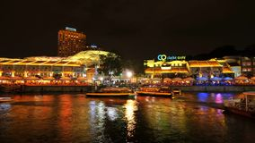 2018-07-22 Zeitspanne Video-Singapur-Fluss-Taxi bei Clarke Quay stock video footage