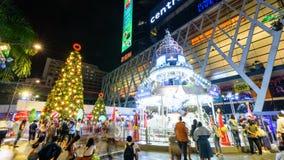 Zeitspanne viel von den Leuten so lustig an der Weihnachtsbaumbeleuchtung stock video footage